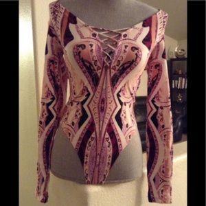 Free people women's pink bodysuit shirt XS